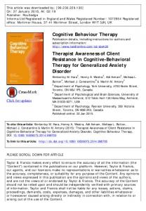 Cognitive Behaviour Therapy Therapist Awareness of ...