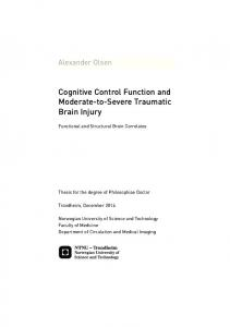 Cognitive Control Function and Moderate-to-Severe ... - bibsys brage