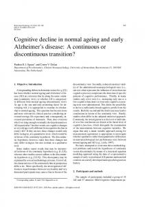 Cognitive decline in normal ageing and early Alzheimer's ... - Hindawi