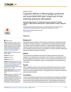 Cognitive deficits in fibromyalgia syndrome are associated ... - PLOS