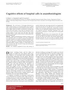 Cognitive effects of hospital calls in ... - Wiley Online Library