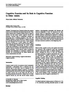 Cognitive Exercise and Its Role in Cognitive Function ... - Springer Link