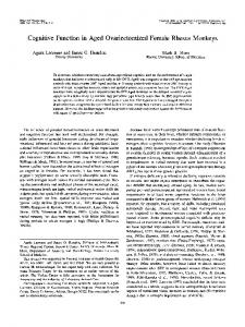 Cognitive Function in Aged Ovariectomized Female ... - CiteSeerX
