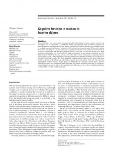 Cognitive function in relation to hearing aid use