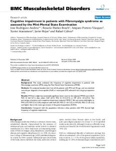 Cognitive impairment in patients with Fibromyalgia syndrome as ...