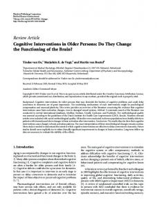 Cognitive Interventions in Older Persons: Do They Change the