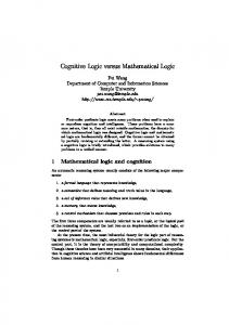 Cognitive Logic versus Mathematical Logic - Semantic Scholar