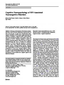 Cognitive Neuropsychology of HIV-Associated Neurocognitive Disorders