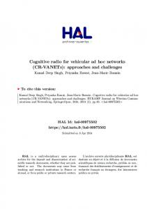 Cognitive radio for vehicular ad hoc networks (CR-VANETs ...
