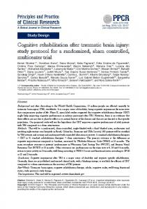 Cognitive rehabilitation after traumatic brain injury
