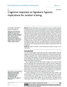 Cognitive responses to hypobaric hypoxia: implications for ... - CiteSeerX