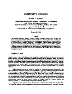 The Cognitive Clock - Department of Computer Science and