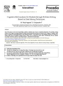 Cognitive Skill Analysis for Students through Problem ... - ScienceDirect