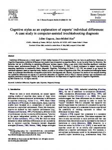Cognitive styles as an explanation of experts' individual ... - CiteSeerX