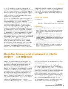 Cognitive training and assessment in robotic surgery is it effective?
