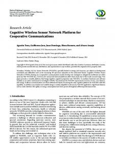 Cognitive Wireless Sensor Network Platform for Cooperative ...