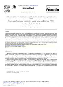 Coherence of Turbulent Wind Under Neutral Wind Conditions ... - Core