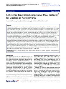 Coherence time-based cooperative MAC protocol 1 for wireless ad ...