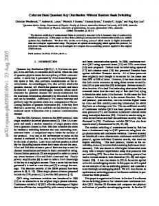 Coherent State Quantum Key Distribution Without Random Basis ...