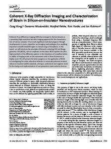Coherent XRay Diffraction Imaging and ... - Wiley Online Library