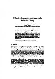 Cohesion, Semantics and Learning in Reflective ... - Semantic Scholar