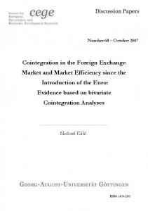 Cointegration in the Foreign Exchange Market and Market Efficiency ...