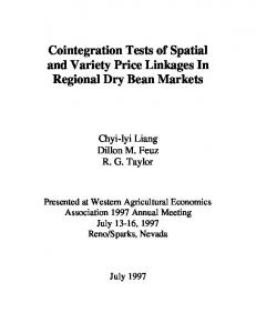 Cointegration Tests of Spatial and Variety Price ... - AgEcon Search