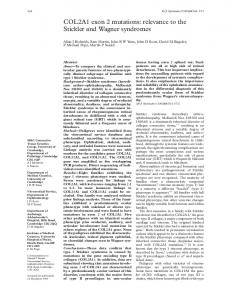 COL2A1 exon 2 mutations: relevance to the Stickler and ... - NCBI