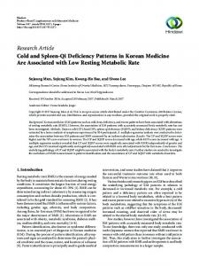 Cold and Spleen-Qi Deficiency Patterns in Korean Medicine Are ...