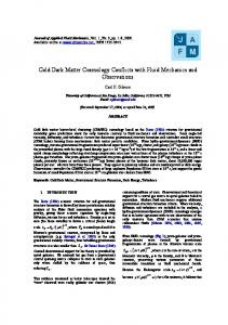 Cold Dark Matter Cosmology Conflicts with Fluid Mechanics and ...