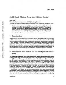 Cold Dark Matter from the Hidden Sector