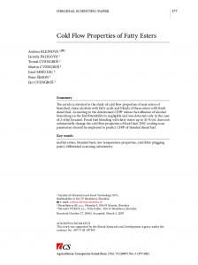 Cold Flow Properties of Fatty Esters