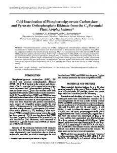 Cold Inactivation of Phosphoenolpyruvate Carboxylase and Pyruvate ...