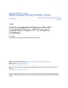 Coleoptera: Cassidinae - UNL Digital Commons - University of