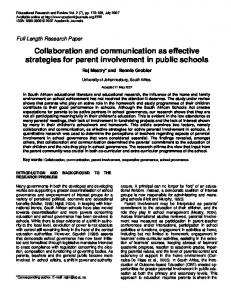 Collaboration and communication as effective strategies ... - CiteSeerX
