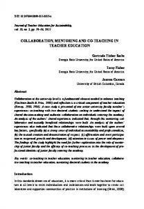 collaboration, mentoring and co-teaching in teacher education - Sciendo