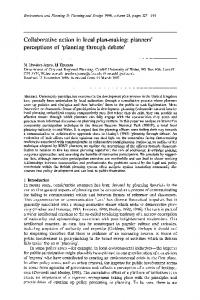Collaborative action in local plan-making: planners' perceptions of ...