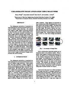 Collaborative Image Annotation Using Image Webs - Department of ...