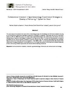 Collaborative Innovation in Agrometeorology: Coordination ... - SciELO