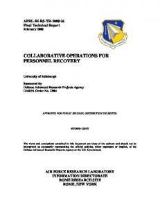 collaborative operations for personnel recovery