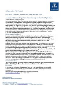 Collaborative PhD Project University of Melbourne