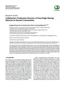 Collaborative Production Structure of Knowledge Sharing Behavior in