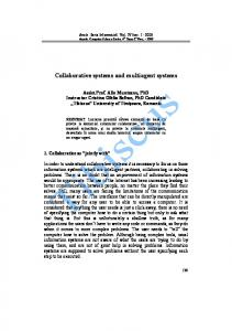 Collaborative systems and multiagent systems - Annals. Computer ...