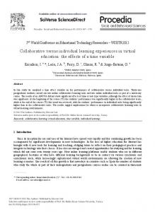 Collaborative Versus Individual Learning Experiences in ... - RiuNet