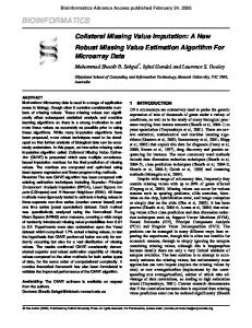 Collateral Missing Value Imputation: A New Robust Missing Value ...