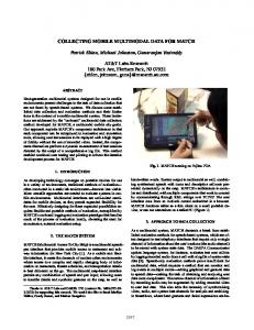 Collecting Mobile Multimodal Data for Match - CiteSeerX