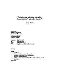 Collective and individual rationality: Robert Malthus's ...