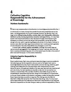 Collective Cognitive Responsibility for the Advancement of Knowledge