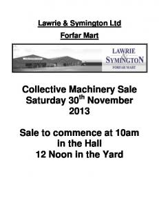 Collective Machinery Sale Saturday 30 November 2013 Sale to ...