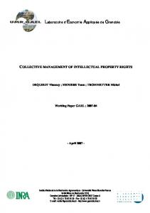 collective management of intellectual property rights - Laboratoire d ...